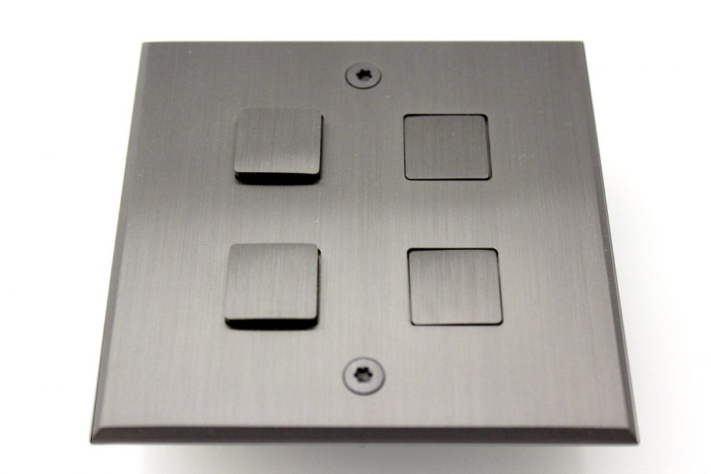 Meljac Plate, Four Relief Square Push Buttons